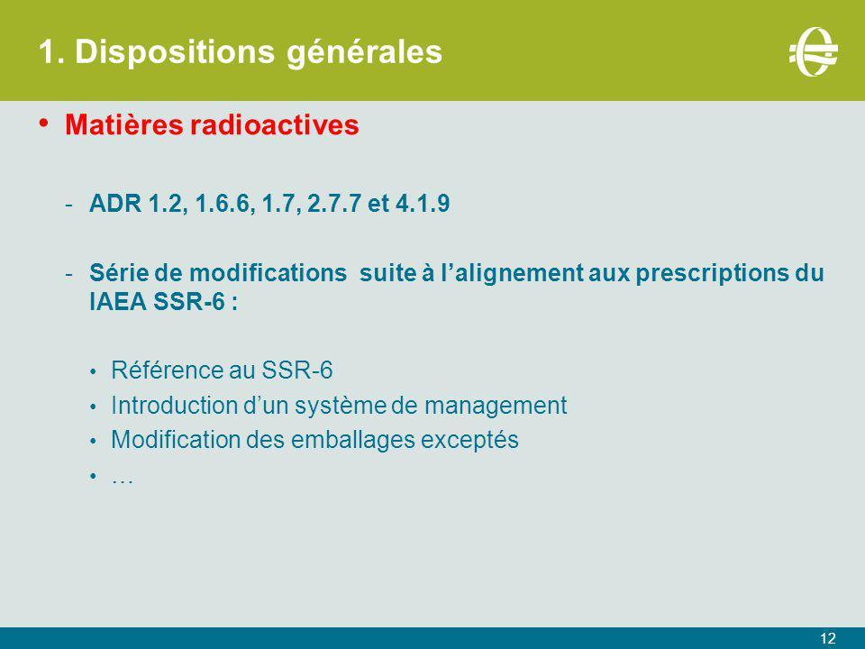 1. Dispositions générales Matières radioactives -ADR 1.2, 1.6.6, 1.7, 2.7.7 et 4.1.9 -Série de modifications suite à l'alignement aux prescriptions du