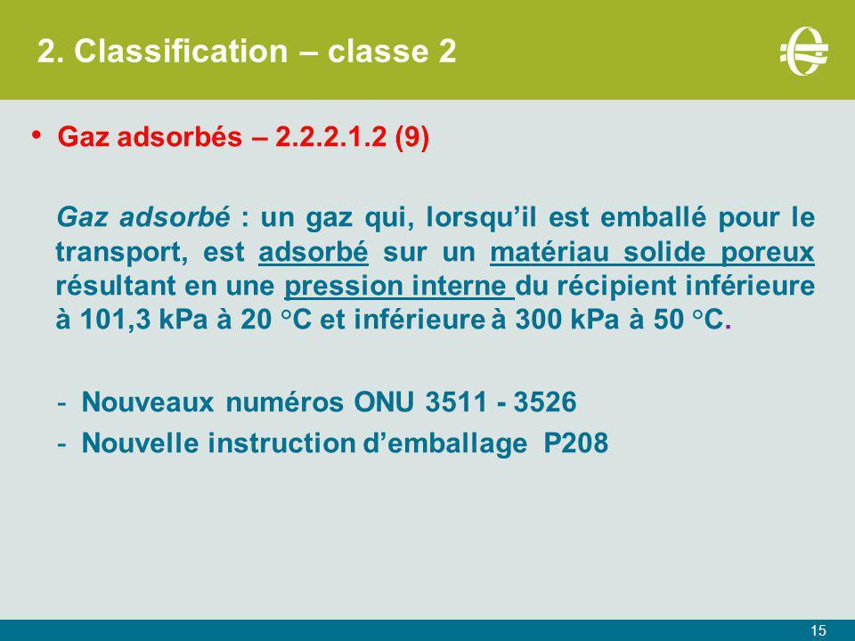 2. Classification – classe 2 Gaz adsorbés – 2.2.2.1.2 (9) Gaz adsorbé : un gaz qui, lorsqu'il est emballé pour le transport, est adsorbé sur un matéri