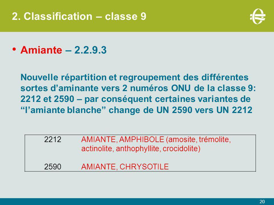 2. Classification – classe 9 20 Amiante – 2.2.9.3 Nouvelle répartition et regroupement des différentes sortes d'aminante vers 2 numéros ONU de la clas
