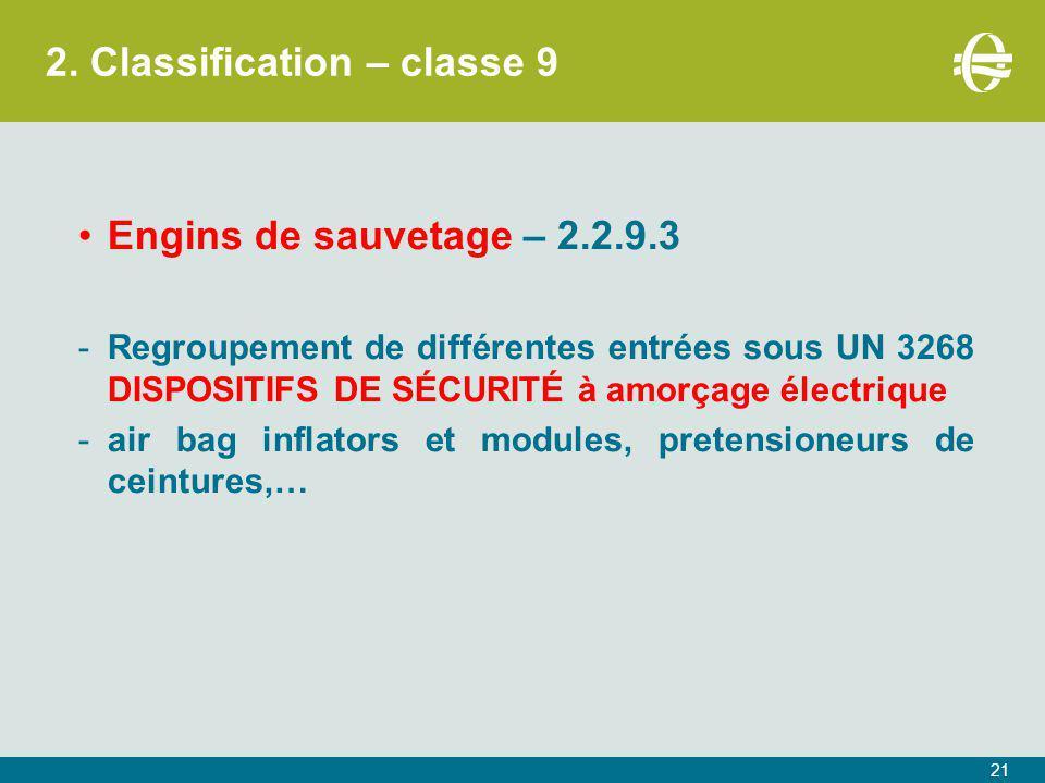 2. Classification – classe 9 Engins de sauvetage – 2.2.9.3 -Regroupement de différentes entrées sous UN 3268 DISPOSITIFS DE SÉCURITÉ à amorçage électr