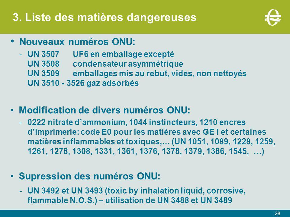 3. Liste des matières dangereuses 28 Nouveaux numéros ONU: -UN 3507UF6 en emballage excepté UN 3508condensateur asymmétrique UN 3509emballages mis au