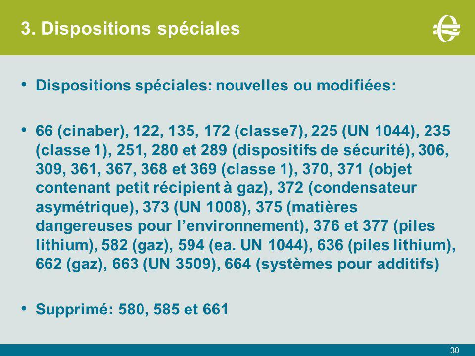 3. Dispositions spéciales 30 Dispositions spéciales: nouvelles ou modifiées: 66 (cinaber), 122, 135, 172 (classe7), 225 (UN 1044), 235 (classe 1), 251