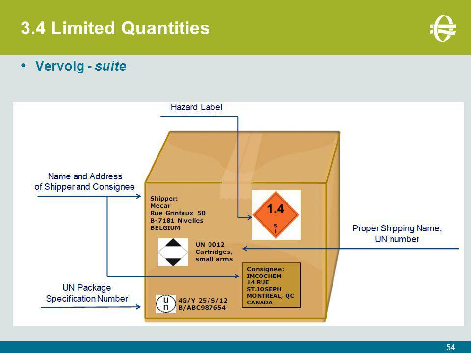 3.4 Limited Quantities 54 Vervolg - suite