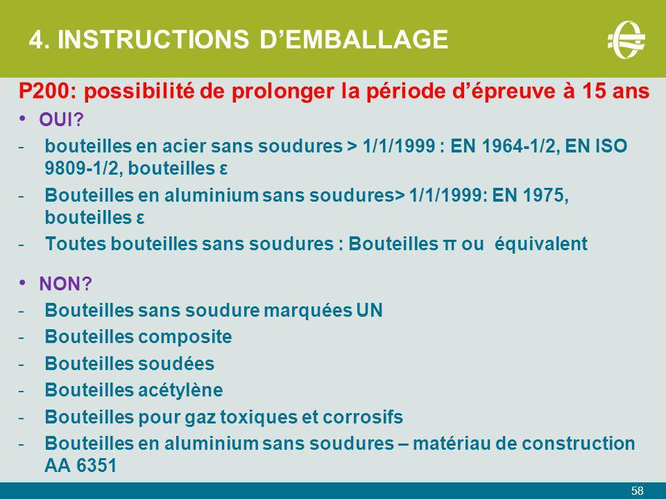 4.INSTRUCTIONS D'EMBALLAGE P200: possibilité de prolonger la période d'épreuve à 15 ans OUI.