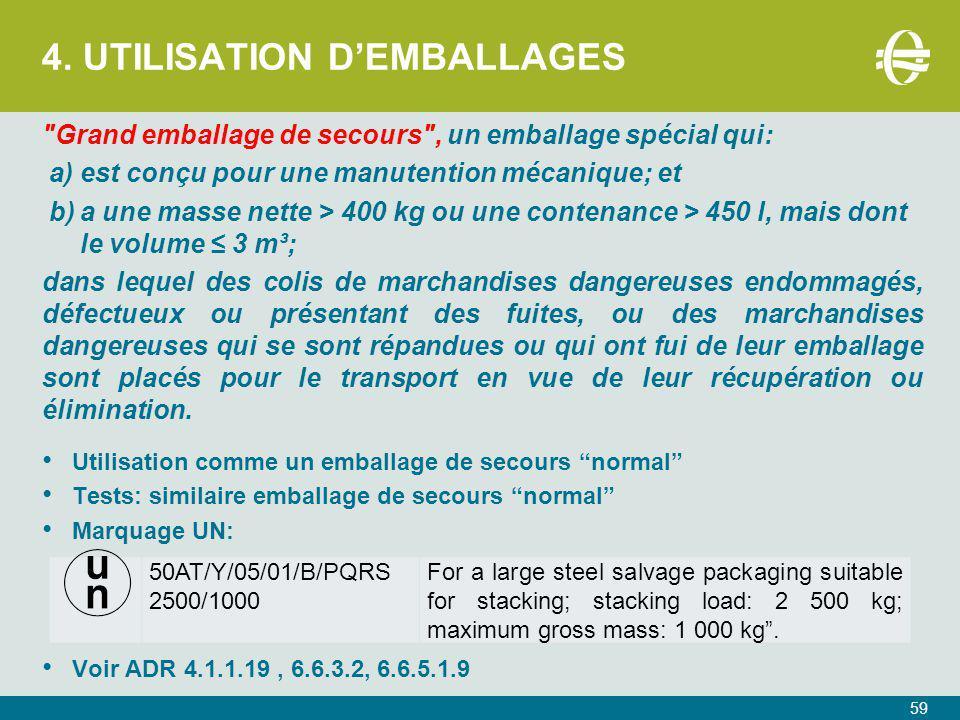 4. UTILISATION D'EMBALLAGES 59