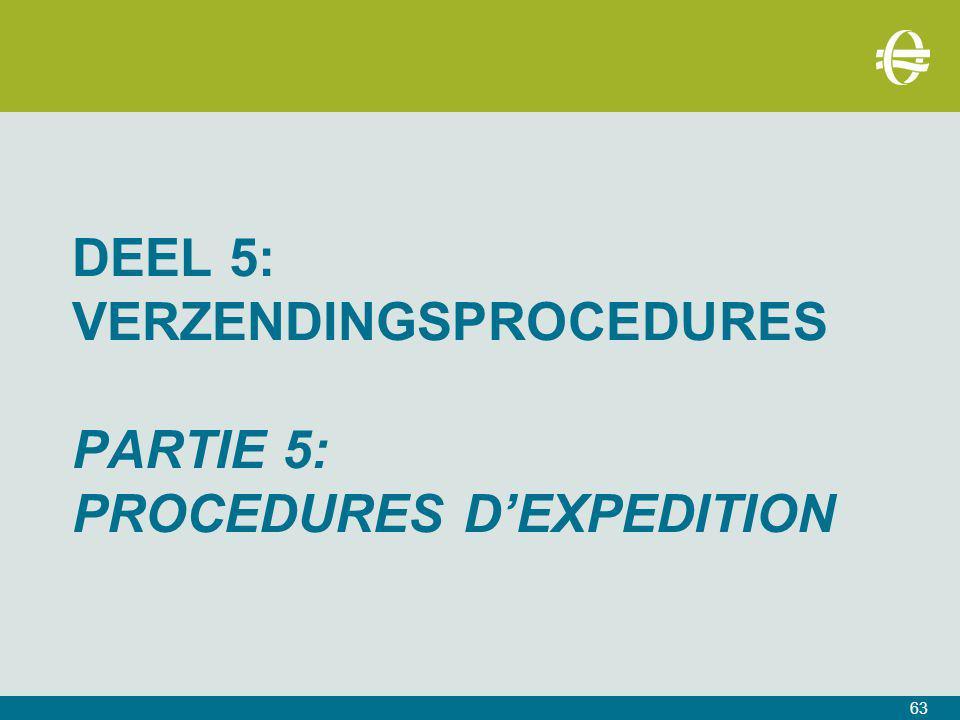 DEEL 5: VERZENDINGSPROCEDURES PARTIE 5: PROCEDURES D'EXPEDITION 63