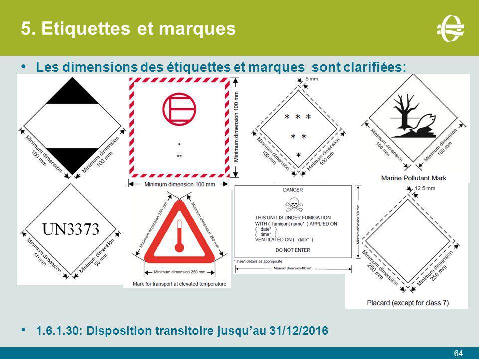 5. Etiquettes et marques 64 Les dimensions des étiquettes et marques sont clarifiées: 1.6.1.30: Disposition transitoire jusqu'au 31/12/2016