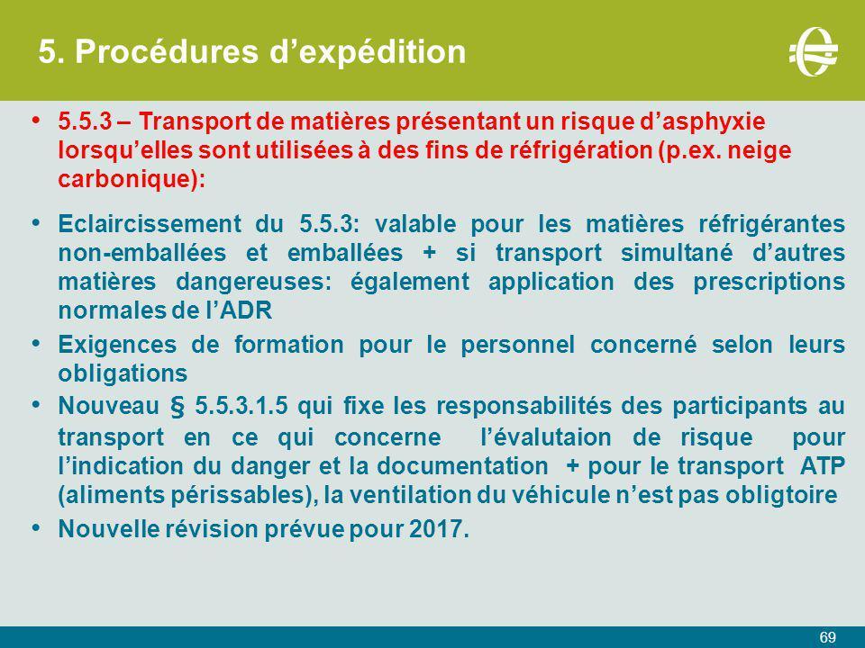 5. Procédures d'expédition 69 5.5.3 – Transport de matières présentant un risque d'asphyxie lorsqu'elles sont utilisées à des fins de réfrigération (p