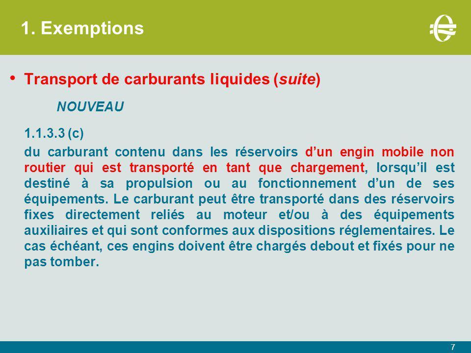 1. Exemptions Transport de carburants liquides (suite) NOUVEAU 1.1.3.3 (c) du carburant contenu dans les réservoirs d'un engin mobile non routier qui