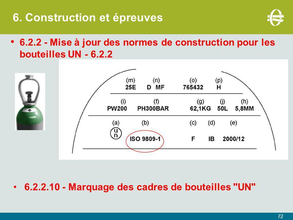 6. Construction et épreuves 72 6.2.2 - Mise à jour des normes de construction pour les bouteilles UN - 6.2.2 6.2.2.10 - Marquage des cadres de bouteil