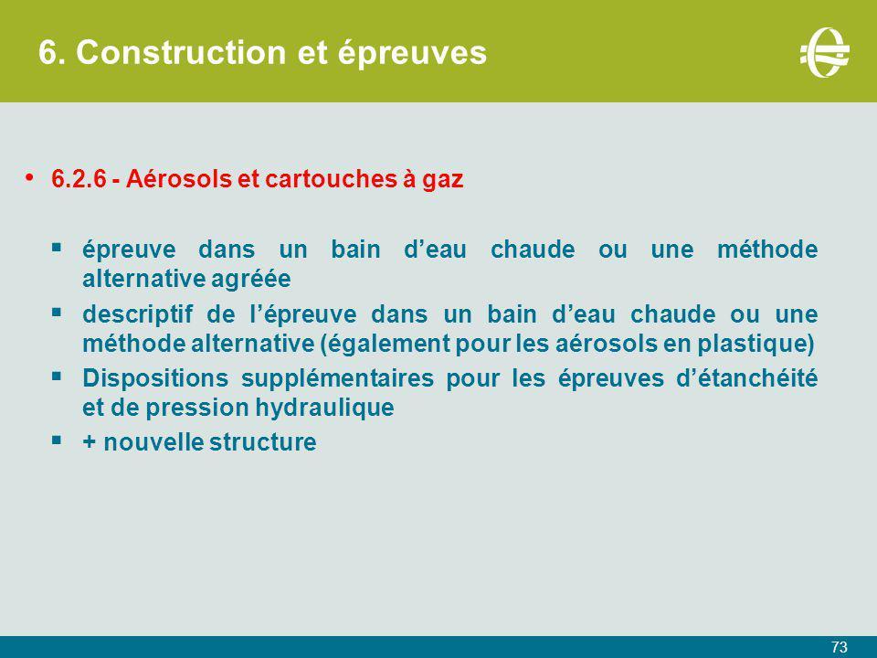 6. Construction et épreuves 73 6.2.6 - Aérosols et cartouches à gaz  épreuve dans un bain d'eau chaude ou une méthode alternative agréée  descriptif