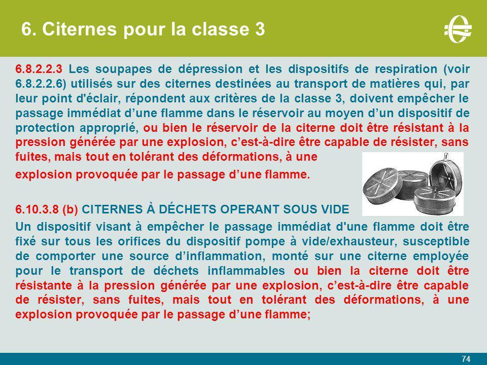 6. Citernes pour la classe 3 6.8.2.2.3 Les soupapes de dépression et les dispositifs de respiration (voir 6.8.2.2.6) utilisés sur des citernes destiné