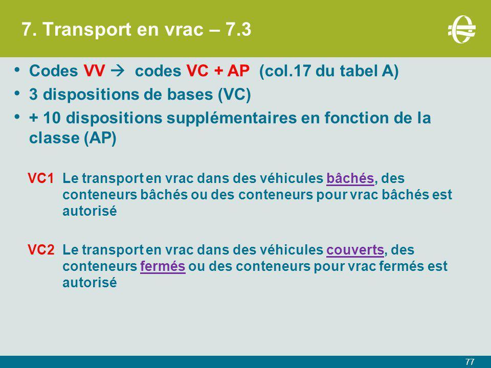 7. Transport en vrac – 7.3 77 Codes VV  codes VC + AP (col.17 du tabel A) 3 dispositions de bases (VC) + 10 dispositions supplémentaires en fonction