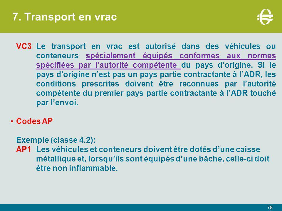 7. Transport en vrac 78 VC3Le transport en vrac est autorisé dans des véhicules ou conteneurs spécialement équipés conformes aux normes spécifiées par