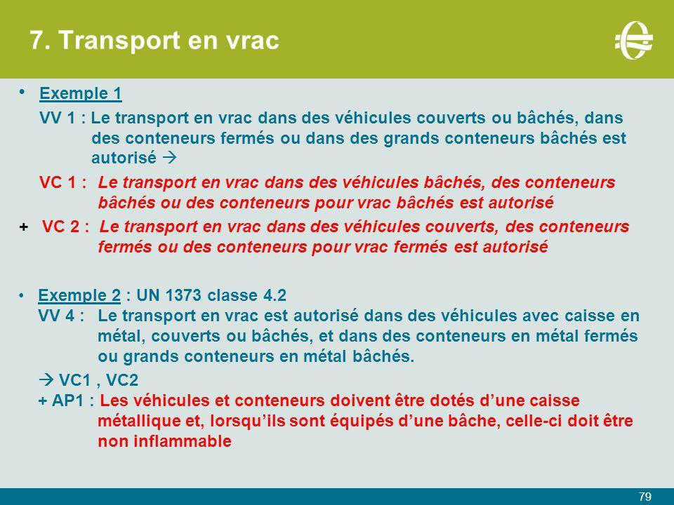 7. Transport en vrac 79 Exemple 1 VV 1 : Le transport en vrac dans des véhicules couverts ou bâchés, dans des conteneurs fermés ou dans des grands con