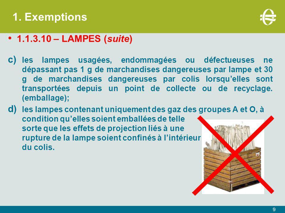 1. Exemptions 1.1.3.10 – LAMPES (suite) c) les lampes usagées, endommagées ou défectueuses ne dépassant pas 1 g de marchandises dangereuses par lampe