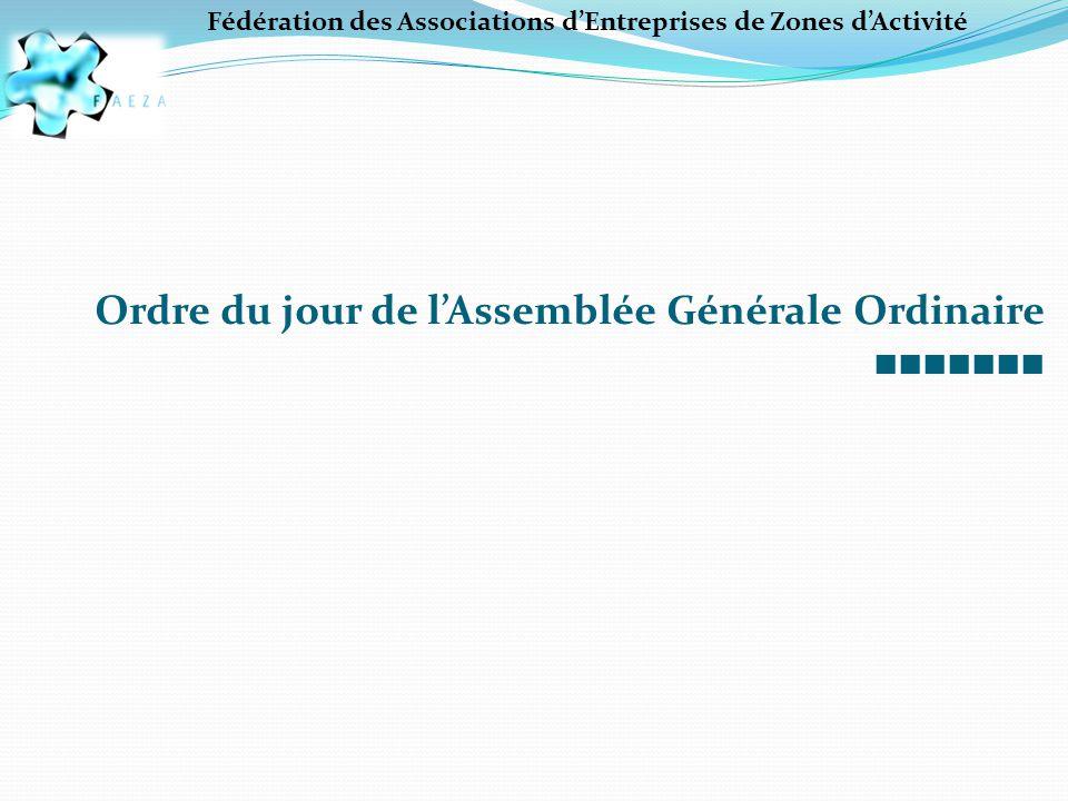 Ordre du jour de l'Assemblée Générale Ordinaire ■■■■■■■ Fédération des Associations d'Entreprises de Zones d'Activité