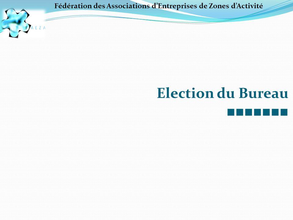 Fédération des Associations d'Entreprises de Zones d'Activité Election du Bureau ■■■■■■■