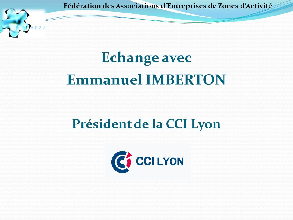 Fédération des Associations d'Entreprises de Zones d'Activité Les actions réalisées en 2013 Suivi de la convention CCI-FAEZA Compte tenu du succès du partenariat, la convention de partenariat a été reconduite l'an dernier pour 2 ans.