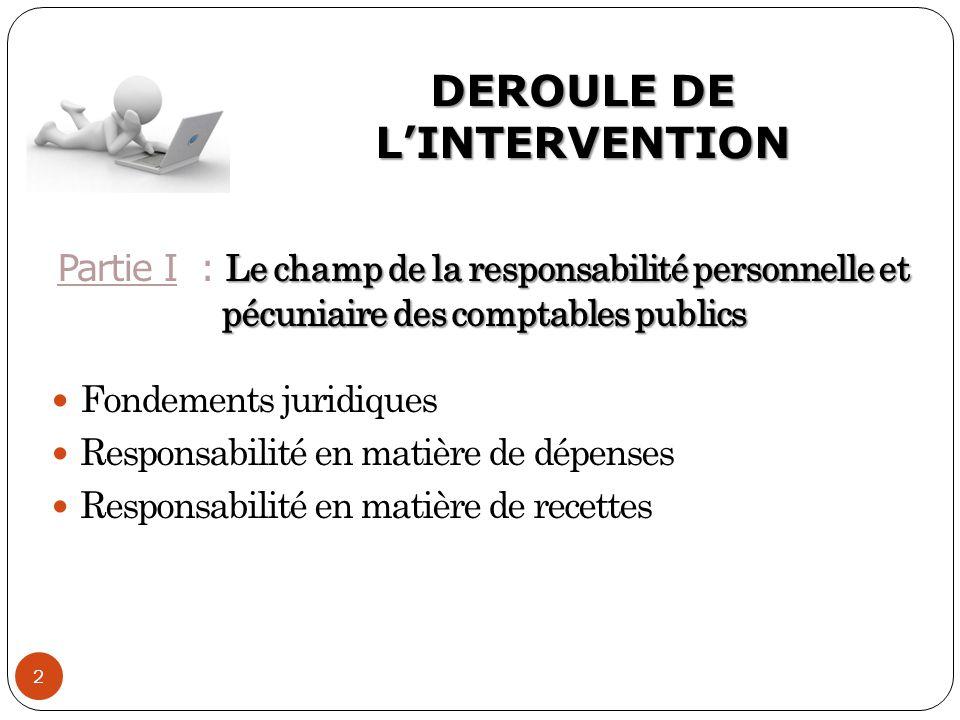 DEROULE DE L'INTERVENTION 2 Le champ de la responsabilité personnelle et pécuniaire des comptables publics Partie I : Le champ de la responsabilité pe