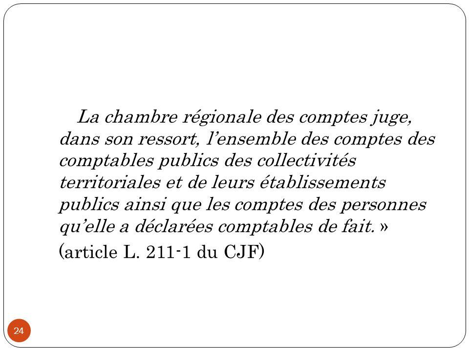 24 « La chambre régionale des comptes juge, dans son ressort, l'ensemble des comptes des comptables publics des collectivités territoriales et de leur