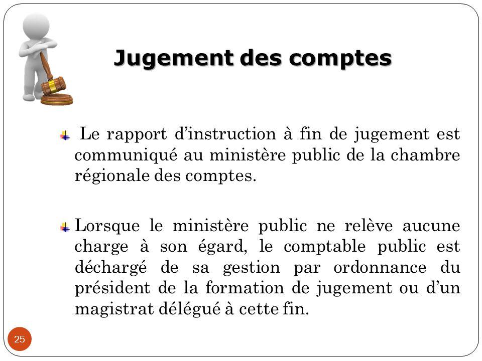 Jugement des comptes 25 Le rapport d'instruction à fin de jugement est communiqué au ministère public de la chambre régionale des comptes. Lorsque le