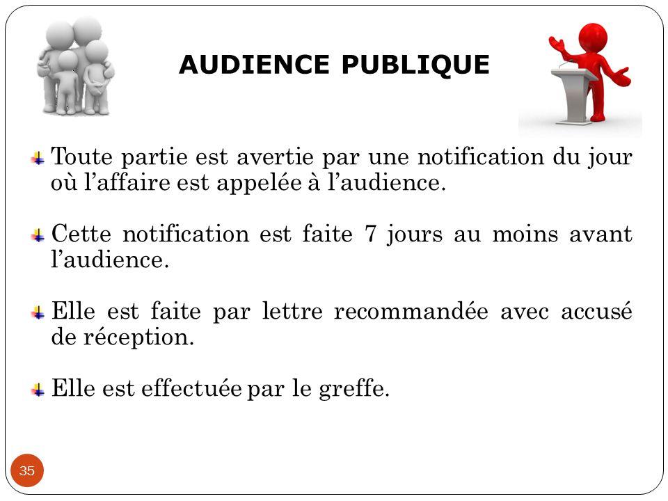 AUDIENCE PUBLIQUE 35 Toute partie est avertie par une notification du jour où l'affaire est appelée à l'audience. Cette notification est faite 7 jours