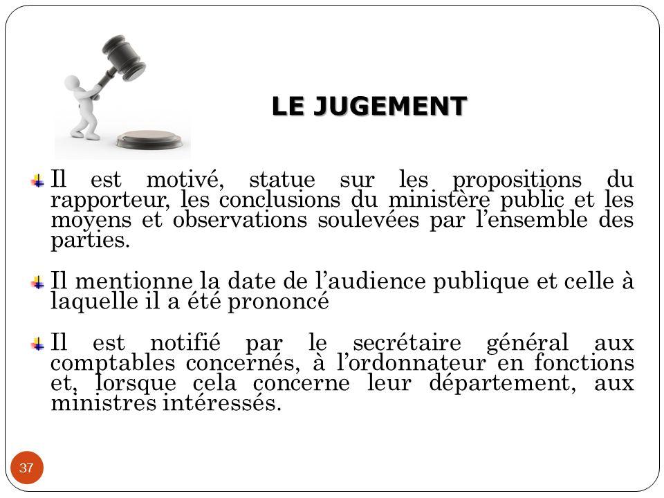 LE JUGEMENT 37 Il est motivé, statue sur les propositions du rapporteur, les conclusions du ministère public et les moyens et observations soulevées p