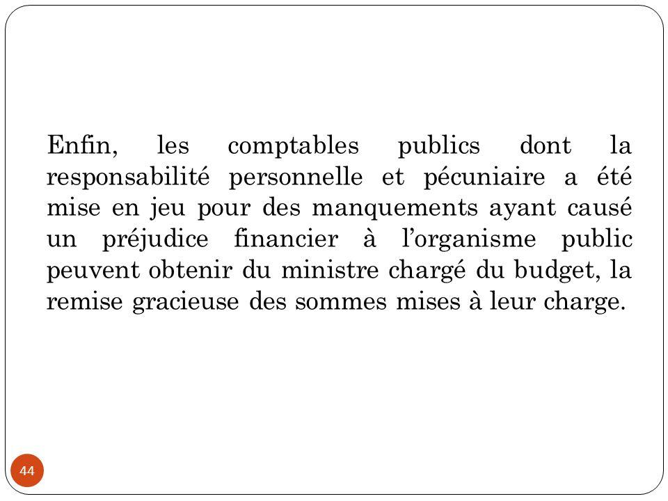 44 Enfin, les comptables publics dont la responsabilité personnelle et pécuniaire a été mise en jeu pour des manquements ayant causé un préjudice fina