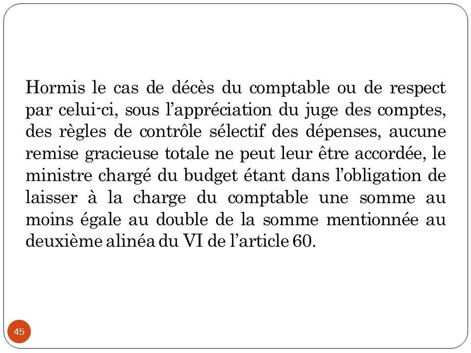 45 Hormis le cas de décès du comptable ou de respect par celui-ci, sous l'appréciation du juge des comptes, des règles de contrôle sélectif des dépens