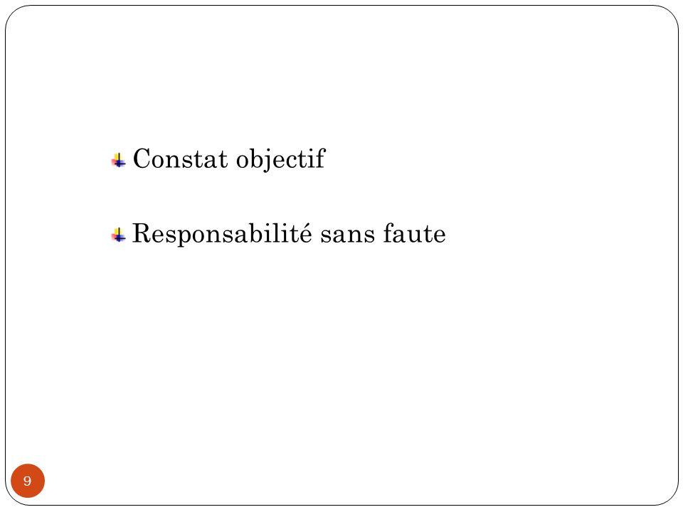 9 Constat objectif Responsabilité sans faute