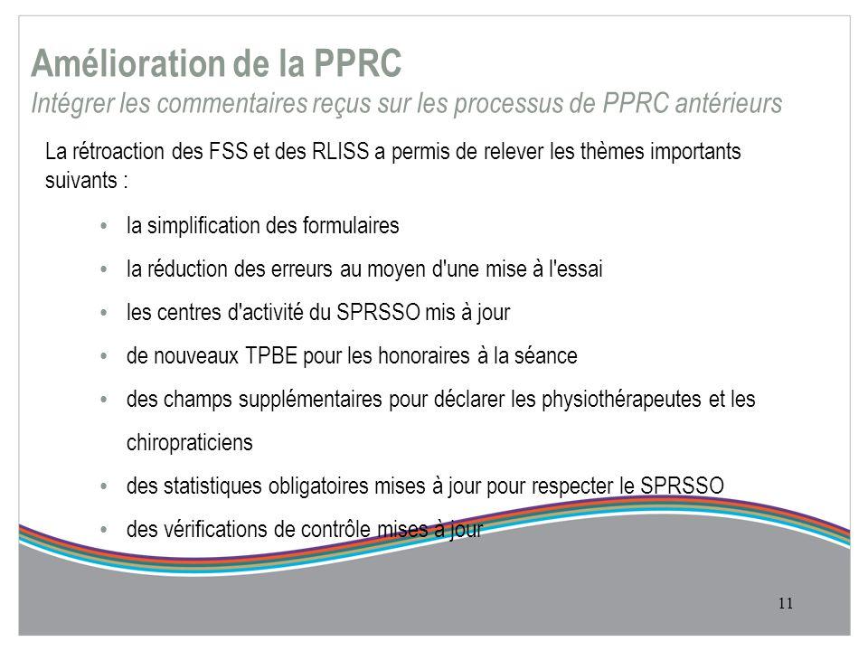 Amélioration de la PPRC Intégrer les commentaires reçus sur les processus de PPRC antérieurs La rétroaction des FSS et des RLISS a permis de relever les thèmes importants suivants : la simplification des formulaires la réduction des erreurs au moyen d une mise à l essai les centres d activité du SPRSSO mis à jour de nouveaux TPBE pour les honoraires à la séance des champs supplémentaires pour déclarer les physiothérapeutes et les chiropraticiens des statistiques obligatoires mises à jour pour respecter le SPRSSO des vérifications de contrôle mises à jour 11