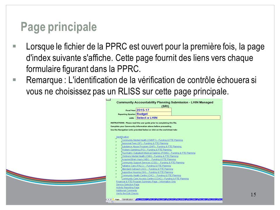 Page principale  Lorsque le fichier de la PPRC est ouvert pour la première fois, la page d index suivante s affiche.