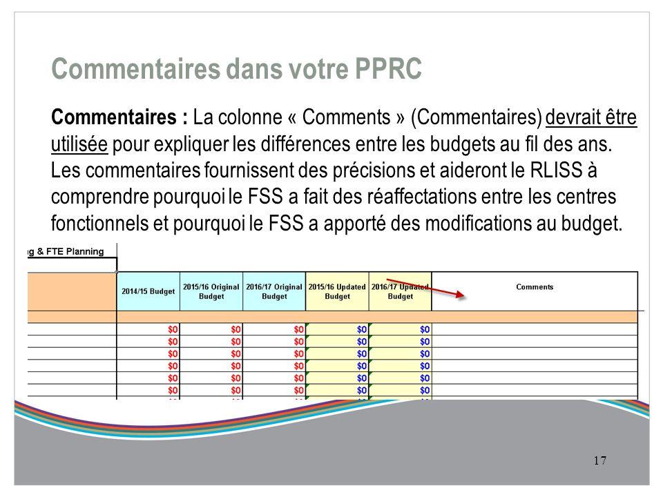 Commentaires dans votre PPRC Commentaires : La colonne « Comments » (Commentaires) devrait être utilisée pour expliquer les différences entre les budgets au fil des ans.