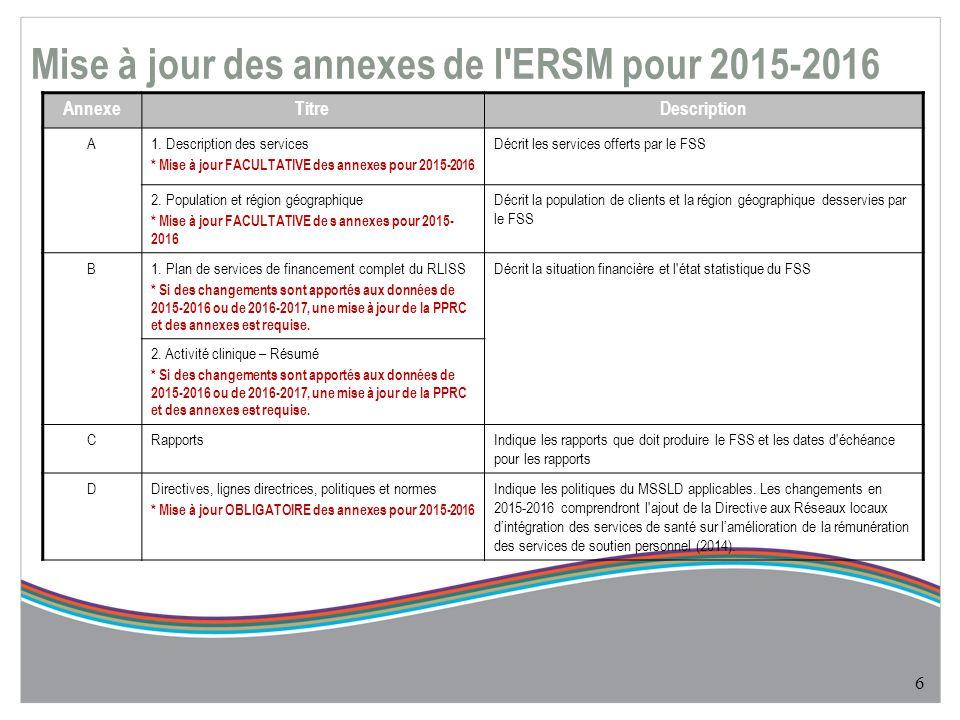Mise à jour des annexes de l ERSM pour 2015-2016 6 AnnexeTitreDescription A1.