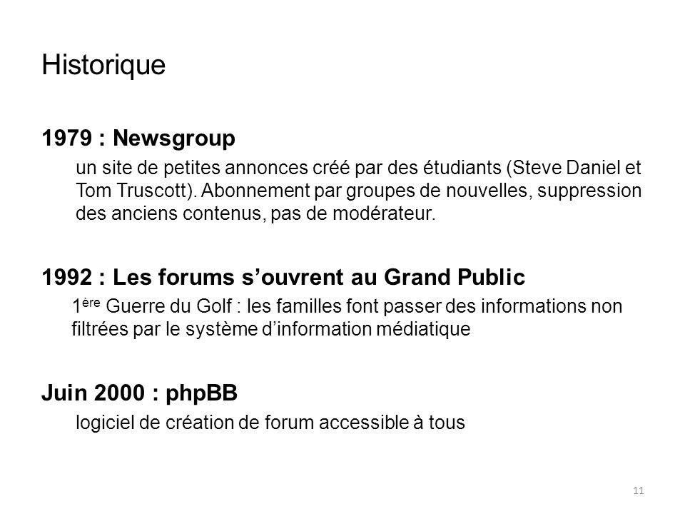 Historique 1979 : Newsgroup un site de petites annonces créé par des étudiants (Steve Daniel et Tom Truscott).