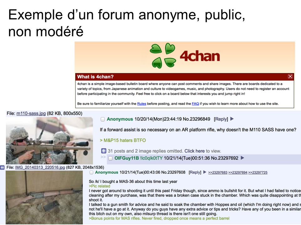 Exemple d'un forum anonyme, public, non modéré