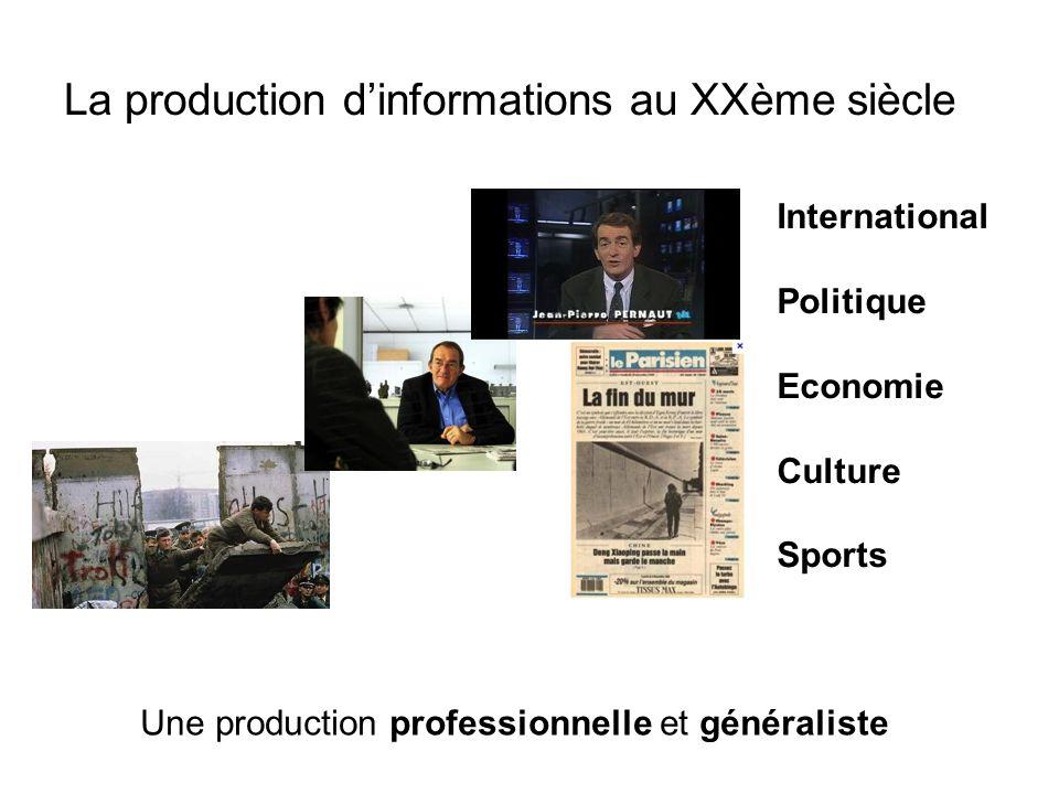 La production d'informations au XXème siècle Une production professionnelle et généraliste International Politique Economie Culture Sports
