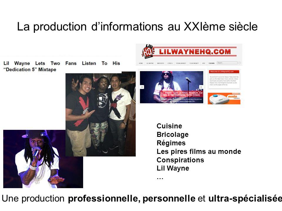 La production d'informations au XXIème siècle Une production professionnelle, personnelle et ultra-spécialisée Cuisine Bricolage Régimes Les pires films au monde Conspirations Lil Wayne …
