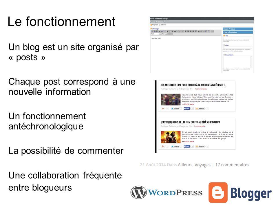 Le fonctionnement Un blog est un site organisé par « posts » Chaque post correspond à une nouvelle information Un fonctionnement antéchronologique La possibilité de commenter Une collaboration fréquente entre blogueurs