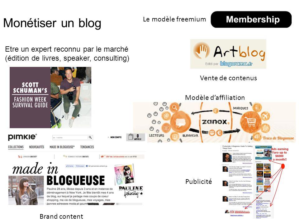 Monétiser un blog Etre un expert reconnu par le marché (édition de livres, speaker, consulting) 29 Vente de contenus Modèle d'affiliation Brand content Publicité Le modèle freemium