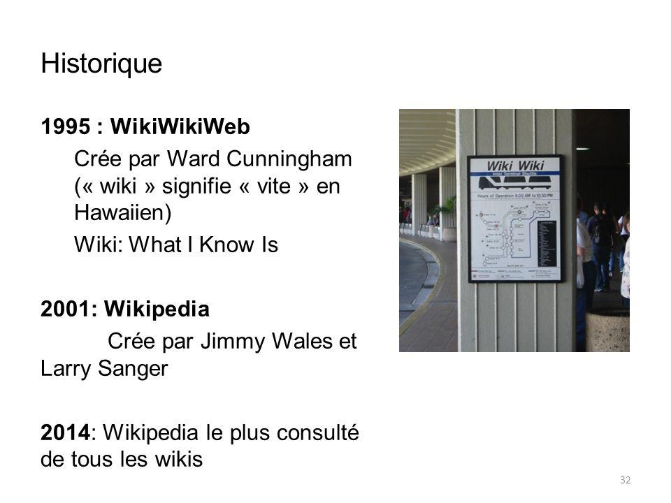Historique 1995 : WikiWikiWeb Crée par Ward Cunningham (« wiki » signifie « vite » en Hawaiien) Wiki: What I Know Is 2001: Wikipedia Crée par Jimmy Wales et Larry Sanger 2014: Wikipedia le plus consulté de tous les wikis 32