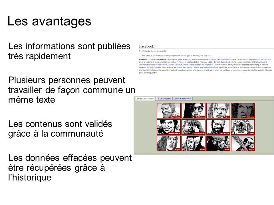 Les avantages Les informations sont publiées très rapidement Plusieurs personnes peuvent travailler de façon commune un même texte Les contenus sont validés grâce à la communauté Les données effacées peuvent être récupérées grâce à l'historique