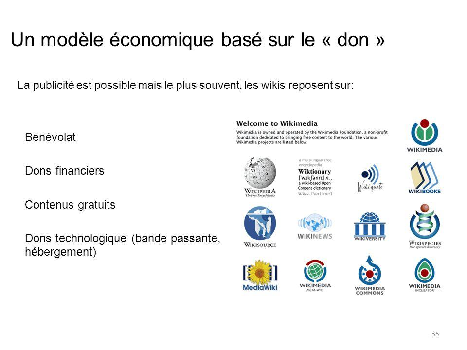 Un modèle économique basé sur le « don » Bénévolat Dons financiers Contenus gratuits Dons technologique (bande passante, hébergement) 35 La publicité est possible mais le plus souvent, les wikis reposent sur: