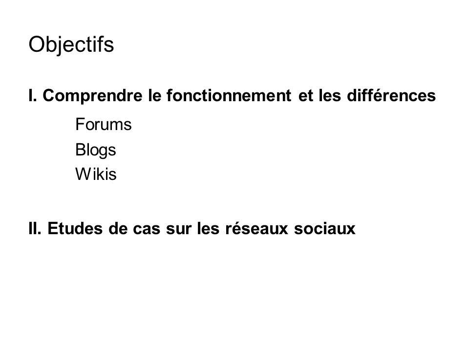 Objectifs I. Comprendre le fonctionnement et les différences Forums Blogs Wikis II.