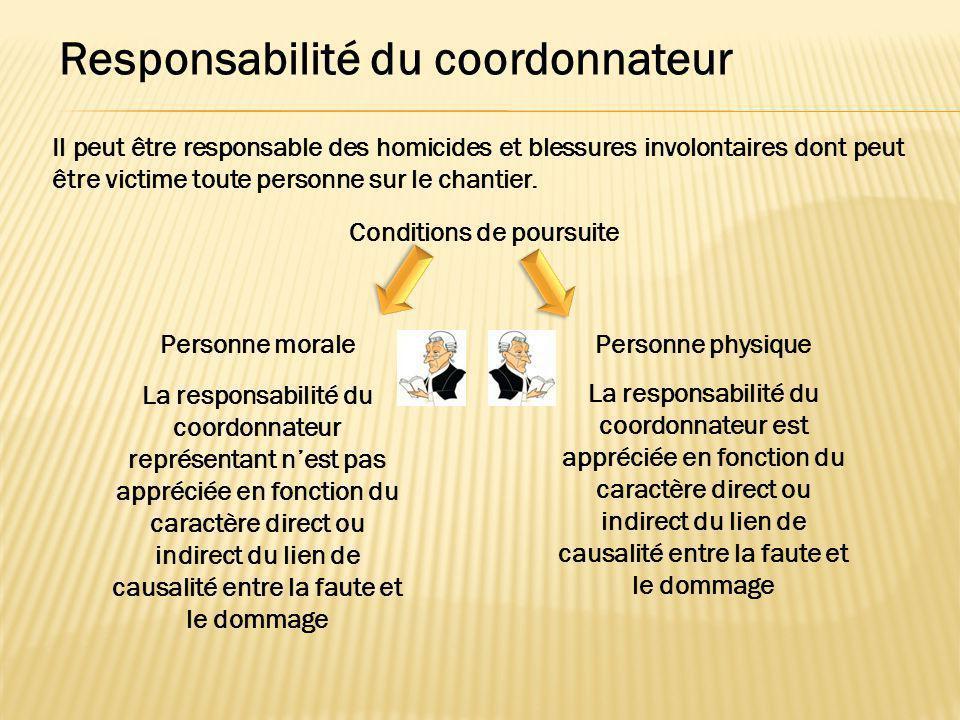 Responsabilité du coordonnateur Il peut être responsable des homicides et blessures involontaires dont peut être victime toute personne sur le chantie