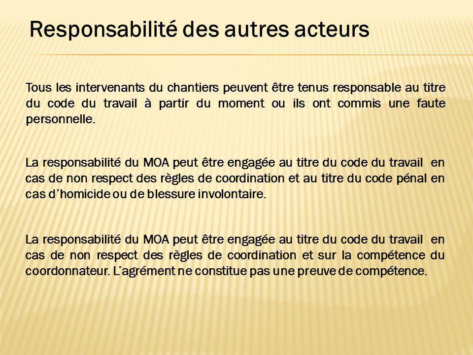 Responsabilité des autres acteurs Tous les intervenants du chantiers peuvent être tenus responsable au titre du code du travail à partir du moment ou