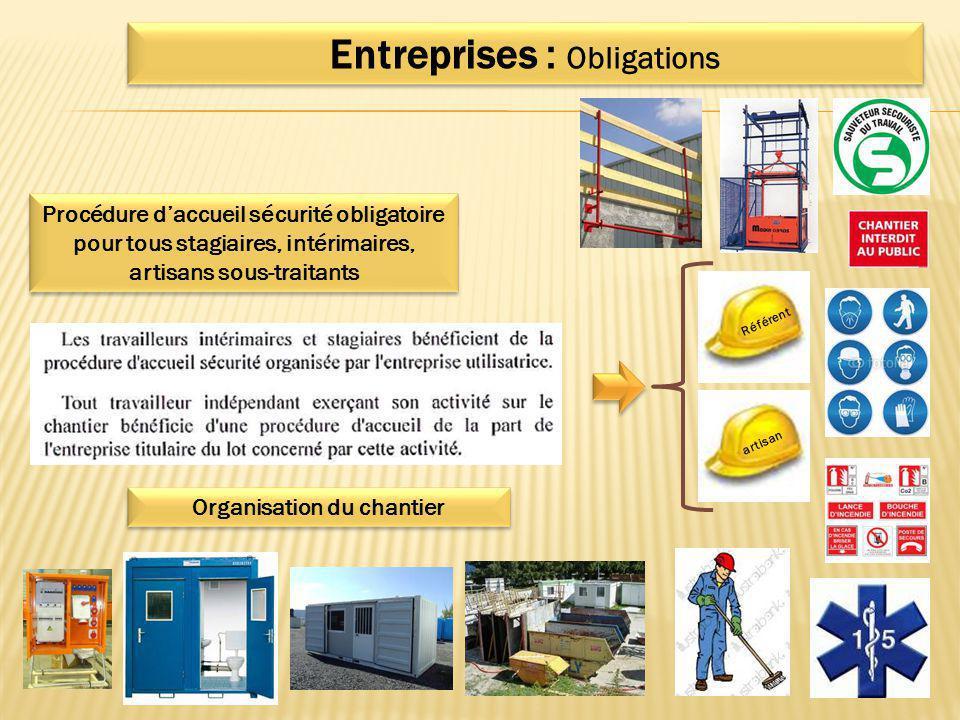 Procédure d'accueil sécurité obligatoire pour tous stagiaires, intérimaires, artisans sous-traitants Entreprises : Obligations Référent artisan Organi