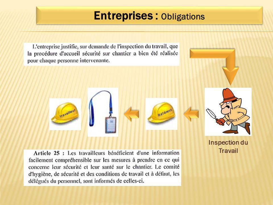 Entreprises : Obligations Inspection du Travail Référent travailleur