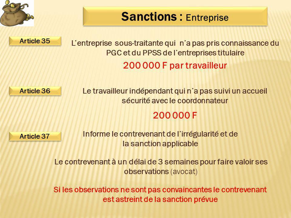Sanctions : Entreprise Le travailleur indépendant qui n'a pas suivi un accueil sécurité avec le coordonnateur L'entreprise sous-traitante qui n'a pas